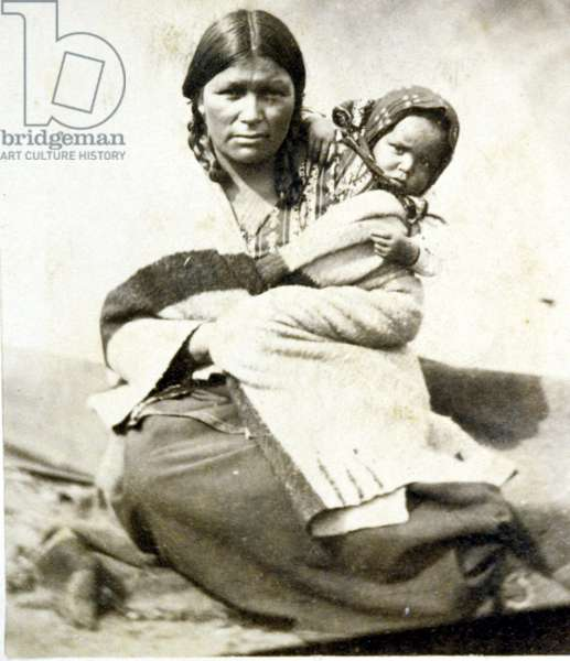 Indian woman with baby, Minnesota, circa 1864.