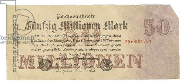 Germany, Weimar Republic, Reichsbank Hyperinflation Currency Note