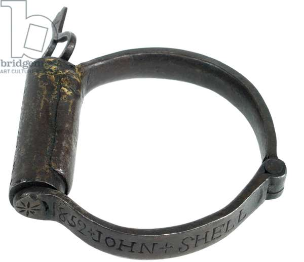 Slave leg shackle made by John Schell 1852 in E.Hanover, Penn