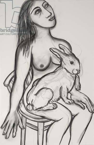Woman with Rabbit, 2012 (charcoal on paper)