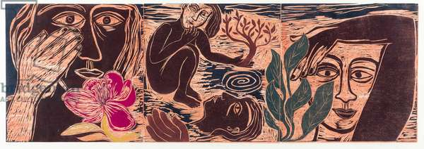 The memory of a moment, 1996 (woodcut on Japanese paper)