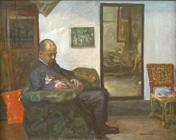 Ambroise Vollard with his Cat (Ambroise Vollard avec son chat), by Pierre Bonnard, 1904 - 1905, 20th Century, oil on canvas, 74 x 92.5 cm