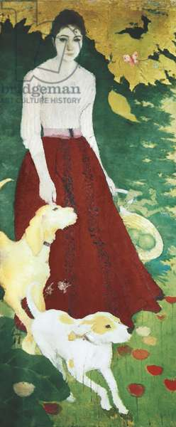 Ms. Andrèe Bonnard with her dogs (Mademoiselle Andrèe Bonnard avec ses chiens), by Pierre Bonnard, 1890, 19th Century, oil on canvas, 188 x 80 cm