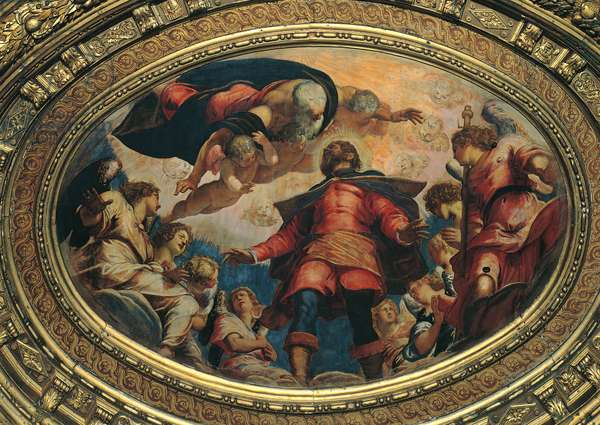 St. Roch in Glory (San Rocco in gloria), by Jacopo Robusti known as Tintoretto, 1564 - 1567, 16th Century, oil on canvas, 240 x 360 cm oval