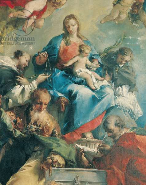 Holy Conversation: Our Lady of the Rosary and Child with Saints (Madonna del Rosario con il Bambino e Santi), by Giovanni Antonio Guardi, 1746 - 1748, 18th Century, oil on arched canvas, 234 x 115 cm