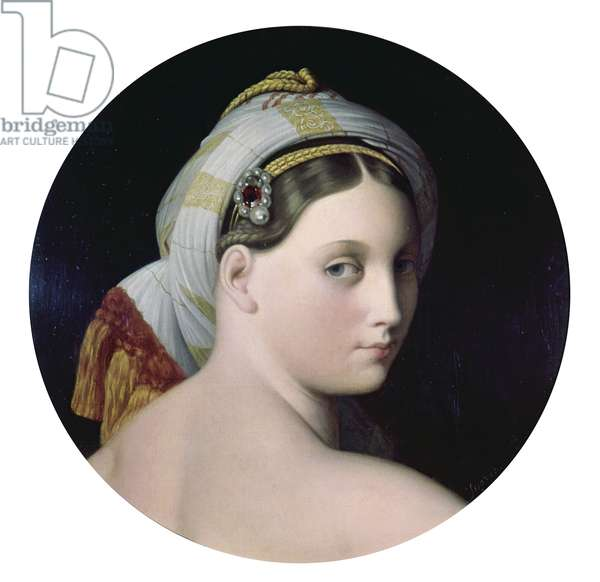 Head of the Grande Odalisque, by Jean Auguste Dominique Ingres, 1814, 19th Century, oil on canvas, 45 cm diametres