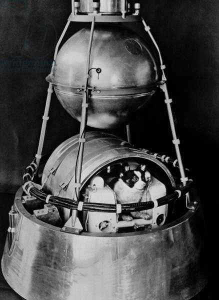 SPUTNIK II, launched by Russia in 1957, with dog inside.