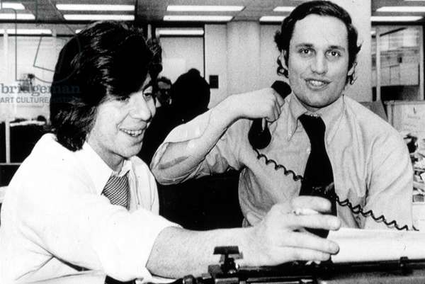 Carl Bernstein, Bob Woodward, at the Washington Post, 1970s, right after being told they won the Pulitzer Prize