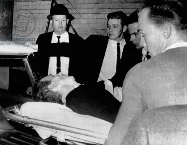 Dying assassin Lee Harvey Oswald is placed in ambulance after he was shot by Jack Ruby, in the Dallas Police Station. Oswald died a couple of hours later in Trauma Room 2 at Parkland Hospital, just 10 feet away from Trauma Room 1 where President Kennedy died two days earlier. Nov. 24, 1963