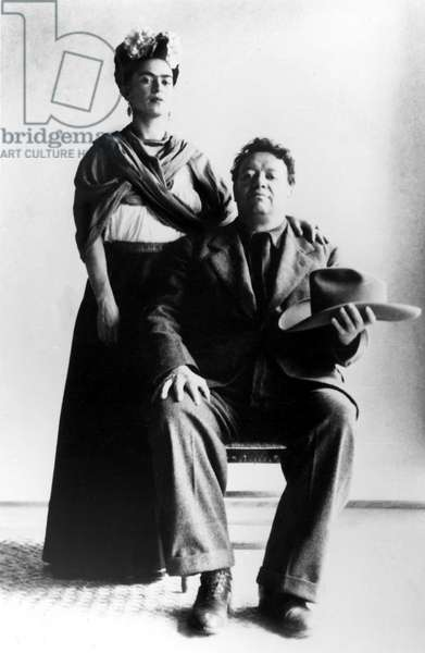 Mexican artists Frida Kahlo with her husband Diego Rivera. Undated.