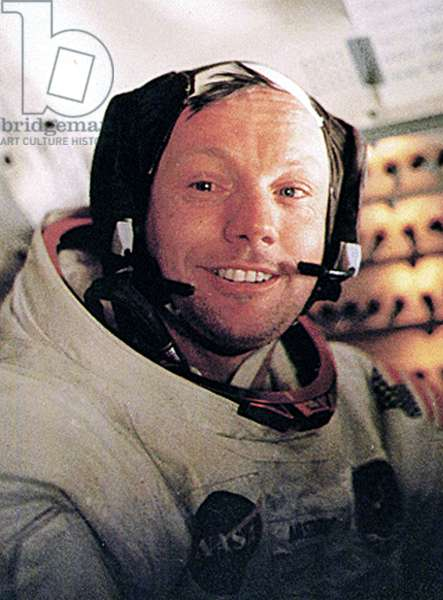 NEIL ARMSTRONG, in the lunar module, just after taking a walk on the moon, July 1969.
