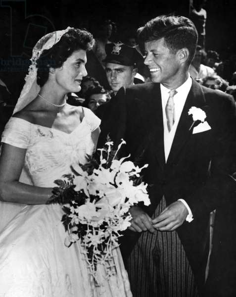 Jacqueline Kennedy and John F. Kennedy on their Wedding day