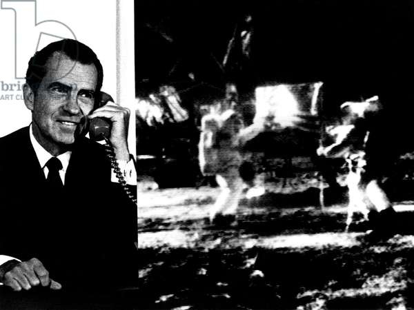 Nixon Telephones Neil Armstrong on the Moon. Composite image of President Nixon and crude televised image of Apollo 11 astronauts Armstrong and Aldrin at Tranquility Base. July 20, 1969. July 20, 1969