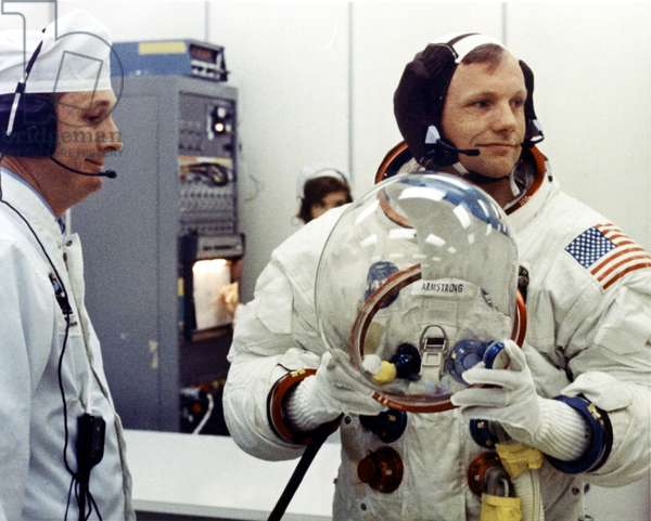 NEIL ARMSTRONG, preparing for Apollo 11 Mission, July 1969.