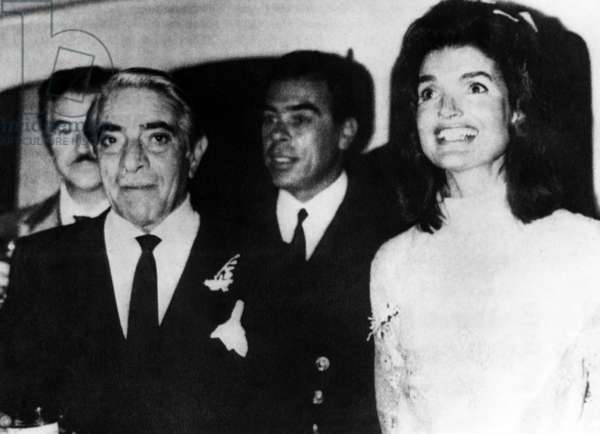 Aristotle Onassis (front left), former First Lady Jacqueline Kennedy Onassis (right), following their wedding on the island of Skorpios Greece, Greece. October 20, 1968