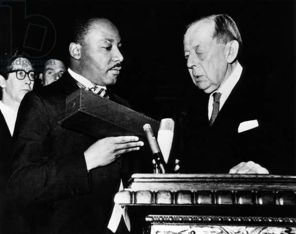 Dr. Martin Luther King Jr. (left), receiving Nobel Peace Prize, Oslo, Norway, December 10, 1964.