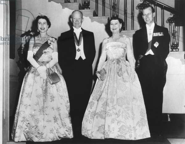 Queen Elizabeth II, President and Mrs. Eisenhower, and Prince Philip before a State Dinner. The White House. Oct. 17, 1957.