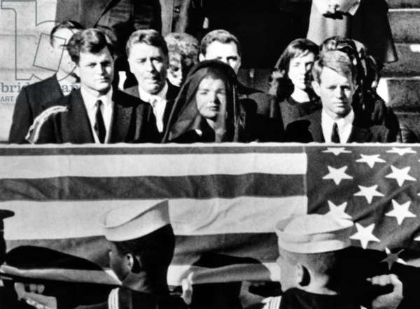 Senator Edward Kennedy, Jacqueline Kennedy and Attorney General Robert Kennedy at President John F. Kennedy's funeral, 1963