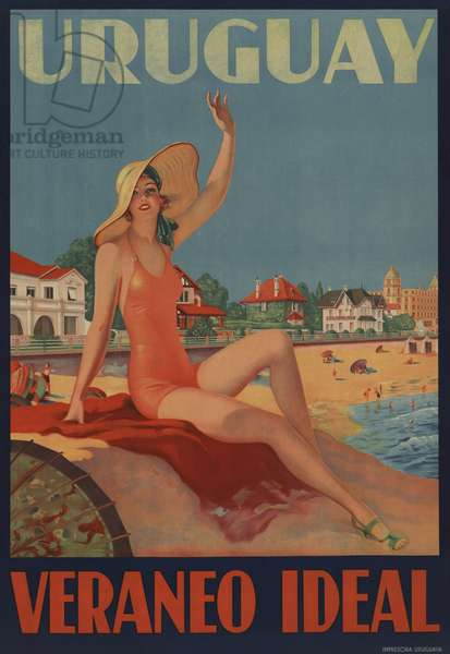 Uruguay, Veraneo Ideal. (Uruguay-Ideal Summer Holiday). 1930s travel poster shows a bathing beauty at the beach