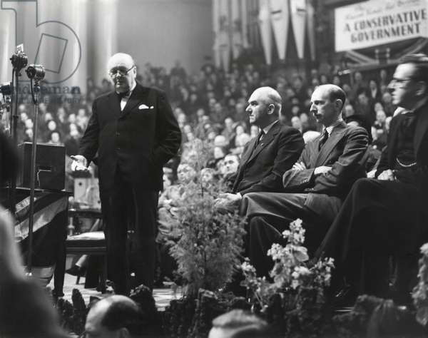 Former Prime Minister Winston Churchill opening General Election campaign at Leeds, Feb. 5, 1950. The Conservative Party Leader spoke of the menace to Britain of the current socialist government