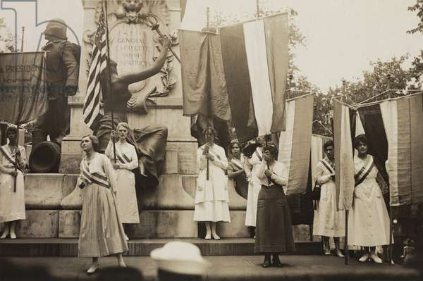 Women's suffrage activists protest Woodrow Wilson's failure to support a constitutional amendment for votes for Women. 1918