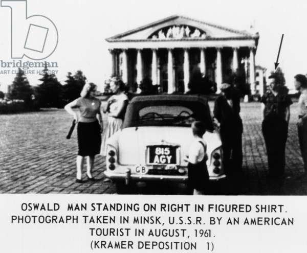 Warren Commission Exhibit. Lee Harvey Oswald (arrow) in Minsk, USSR, taken by an American tourist during the two and a half years of his 'defection' to the Soviet Union. August 1961
