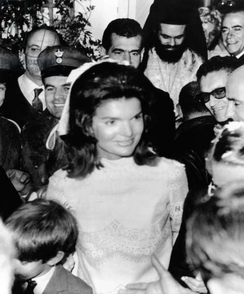 Jacqueline Kennedy marries Aristotle Onassis. Mrs. Aristotle Onassis, after her wedding on Onassis' private island. Oct. 20, 1968