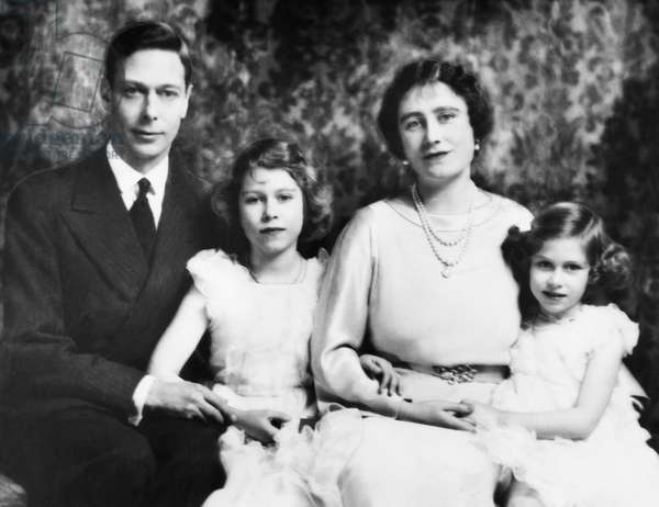 British Royal Family. From left: British King George VI, Future British Queen Princess Elizabeth, British Queen Elizabeth (future Queen Mother), Future Countess of Snowdon Princess Margaret, c.late 1930s