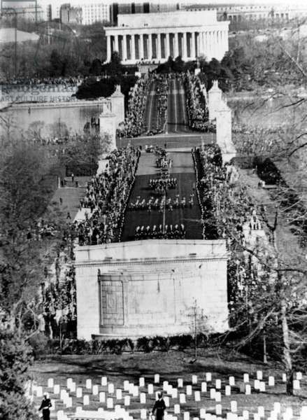 President John Kennedy's funeral procession crossing the Memorial Bridge to Arlington National Cemetery. Nov. 25, 1963