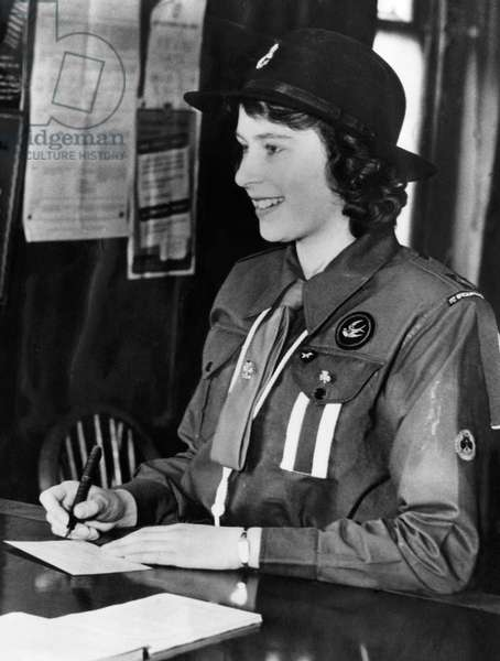 Princess Elizabeth, (the future Queen Elizabeth II), in her Girl Guide uniform, c. 1942.