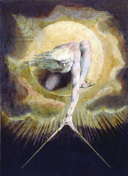 Ancient of Days from the frontispiece for William Blake's (1757-1827) book Europe: A Prophesy, published in 1794