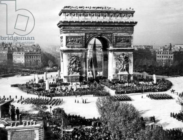 The Arc de Triomphe during an Armistice Day Celebration, Paris, France, sometime between the end of WWI and 1940