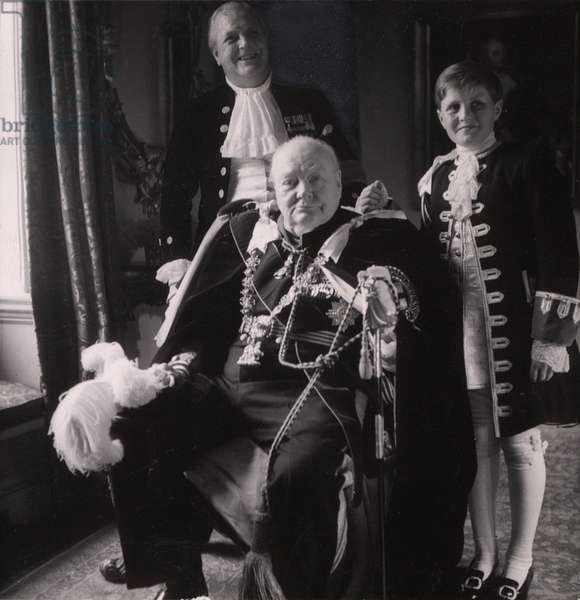 Sir Winston Churchill (front), his son Randolph Churchill (back left), and his grandson Winston Churchill (right), in Coronation robes, photo by Toni Frissell, 1953