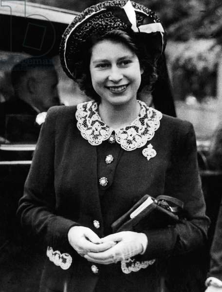 Princess Elizabeth, (the future Queen Elizabeth II), visiting Grenadier Guards, England, 1944.