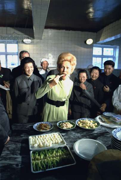 Nixon in China. Pat Nixon samples cuisine on a visit to the Beijing Hotel kitchen. Feb. 22 1972