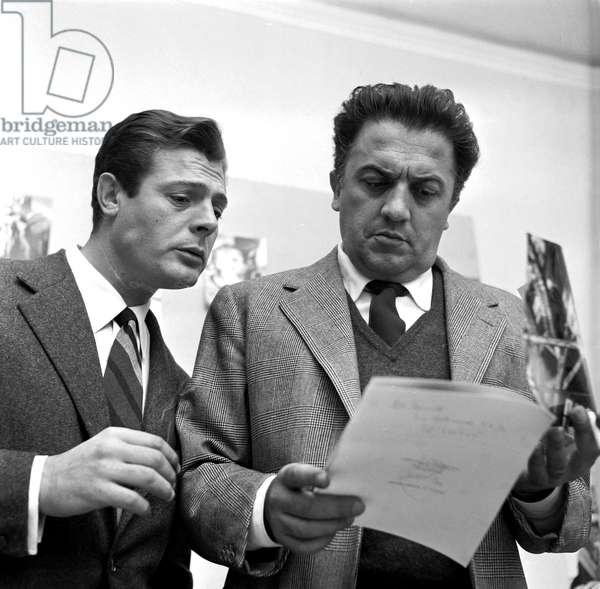 Marcello Mastroianni and Federico Fellini in Rome, 1958