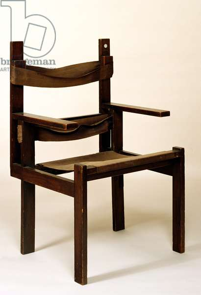 Slatted Chair, 1924 (stained oak with brown canvas slung seat)