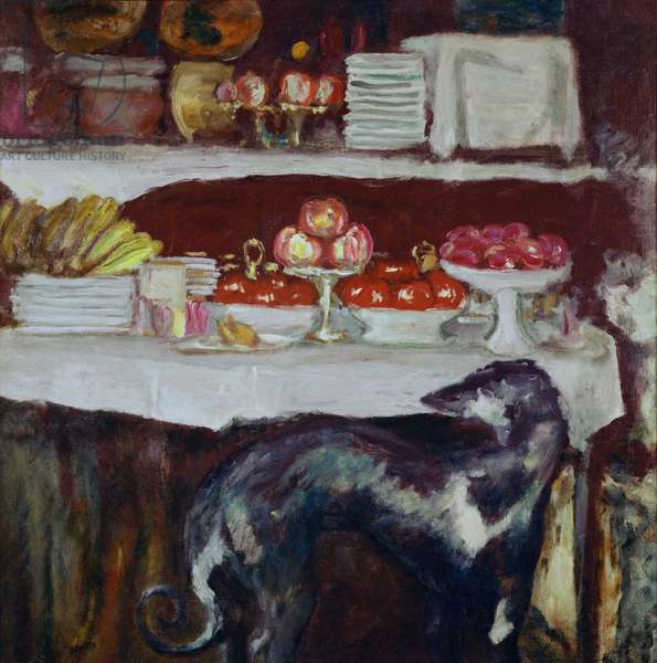 Greyhound and Still Life, c.1920-25 (oil on canvas)