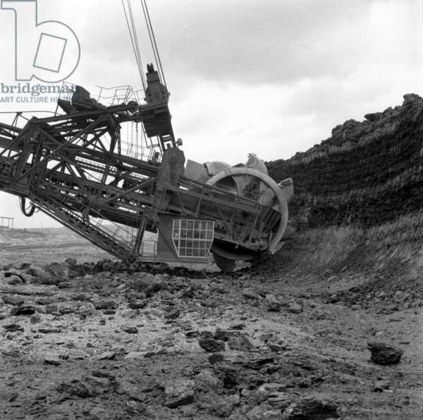 Turoszow, 1962. Turow mining and power plant, Turoszow open-pit mining, excavator.