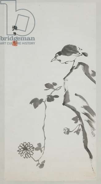 Bird, Rock, and Chrysanthemums, 1920s (ink on paper)