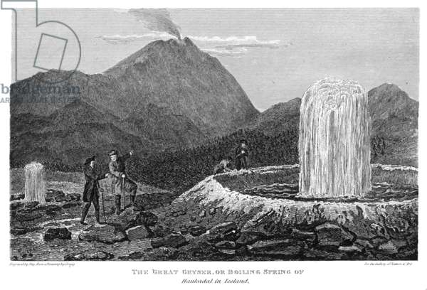 ICELAND: GEYSER The Great Geyser of Iceland. Line engraving, English, 1823.