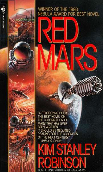 SCIENCE FICTION NOVEL, 1992 Cover of a paperback edition of 'Red Mars,' the first novel in American science fiction writer Kim Stanely Robinson's Mars trilogy, first published in 1992.