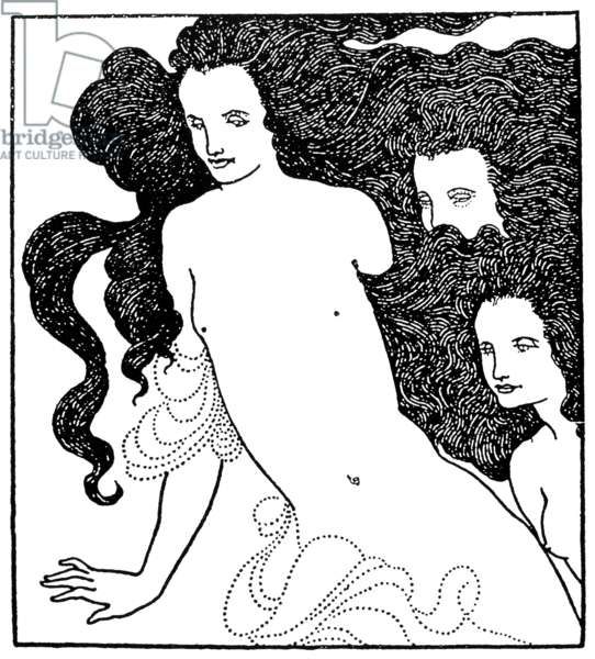 BEARDSLEY: RHINEGOLD, 1896 Detail from Aubrey Vincent Beardsley's frontispiece to 'The Comedy of the Rhinegold,' 1896.