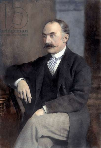 THOMAS HARDY (1840-1928) English novelist. Oil over a photograph.