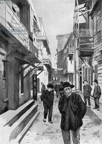 SAN FRANCISCO: CHINATOWN A typical alley in Chinatown, San Francisco. Lithograph, 1895.