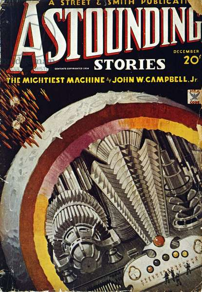 SCIENCE FICTION COVER, 1934 Cover by Howard V. Brown for the December 1934 issue of 'Astounding Stories' magazine.
