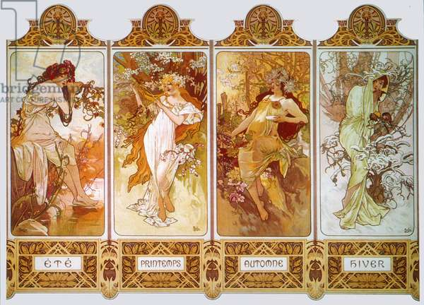 MUCHA: FOUR SEASONS, c.1897 'The Four Seasons' (from left: summer, spring, autumn, winter). Lithograph poster, c.1897 by Alphonse Mucha.