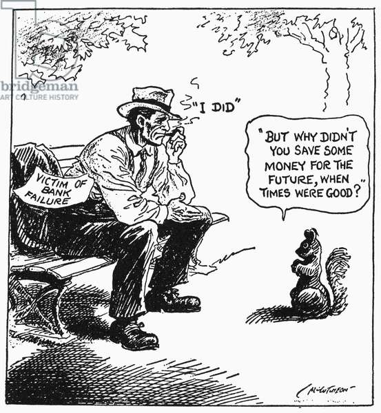 CARTOON: GREAT DEPRESSION, 1932. 'A Wise Economist Asks a Question.' Pulitzer Prize-winning cartoon on the financial hardships resulting from bank failures during the Great Depression. Cartoon by John T. McCutcheon, 1932.