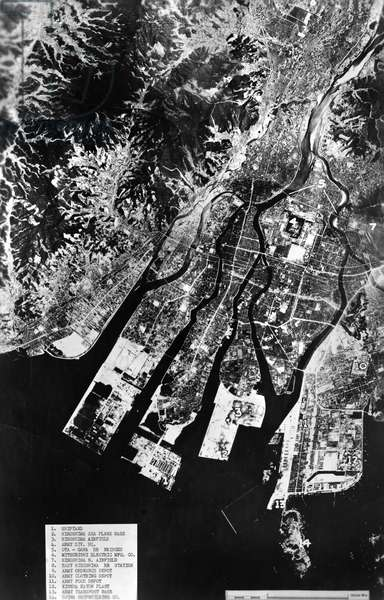 WORLD WAR II: HIROSHIMA Annotated aerial view of Hiroshima, Japan, after the atomic bombing on 6 August, 1945.