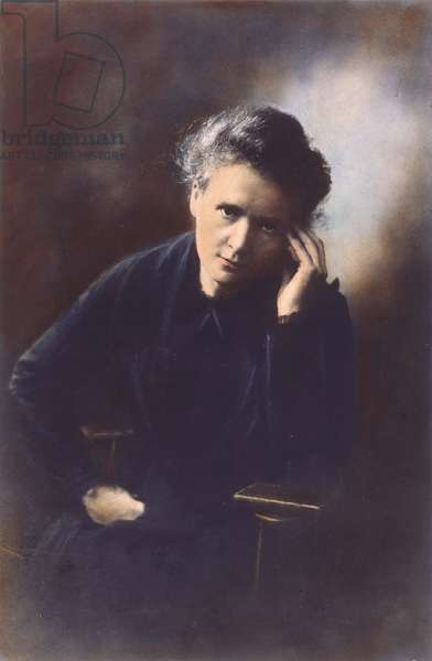 MARIE CURIE (1867-1934) Marie Sklodowska Curie. French (Polish-born) chemist. Oil over a photograph.